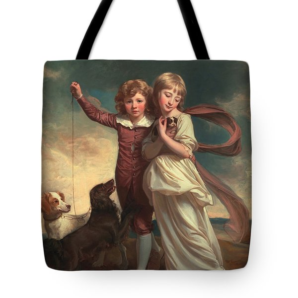 Thomas John Clavering And Catherine Mary Clavering Tote Bag by George Romney