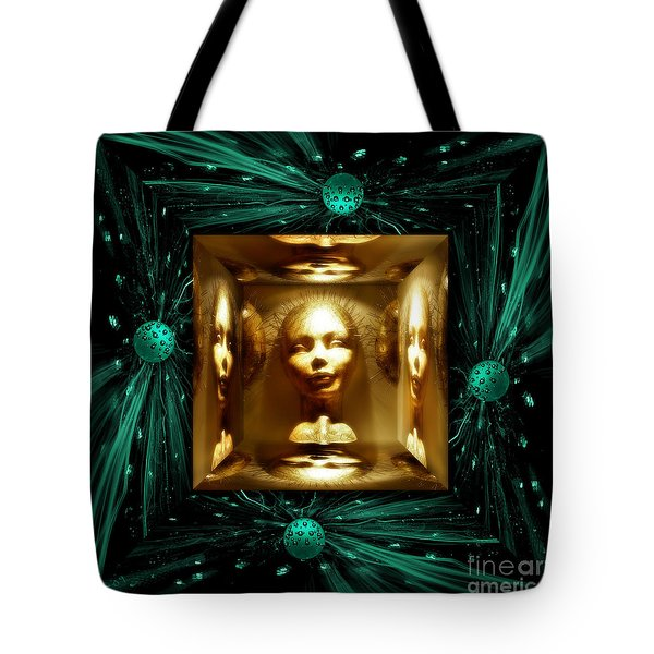 Tote Bag featuring the digital art Thoughts Mirror Box by Rosa Cobos