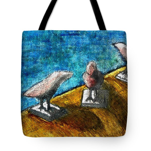 Three Birds Blue Tote Bag by James Raynor