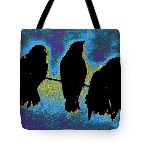 Tote Bag featuring the mixed media Three Crows by YoMamaBird Rhonda