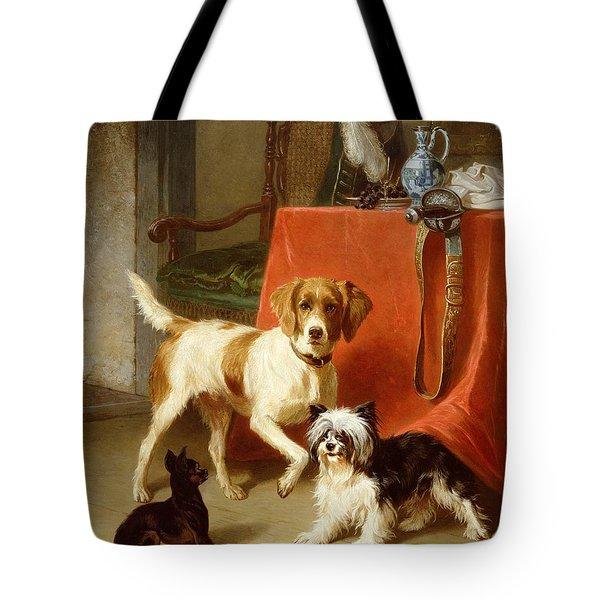 Three Dogs Tote Bag by Conradyn Cunaeus