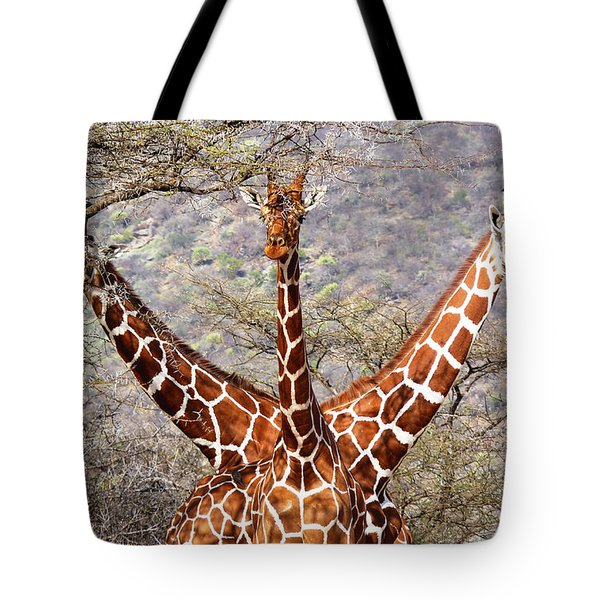 Three Headed Giraffe Tote Bag