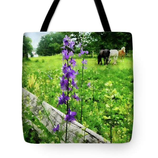 Three Horses In Distance Tote Bag by Susan Savad