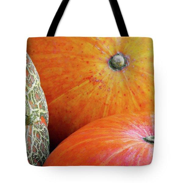 Three Pumpkins Tote Bag by Carlos Caetano