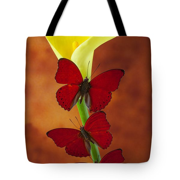 Three Red Butterflies On Calla Lily Tote Bag by Garry Gay