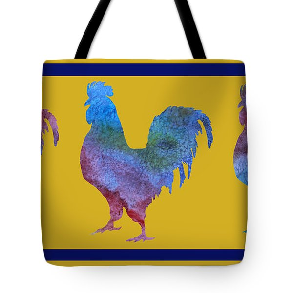 Three Roosters Tote Bag by Jenny Armitage