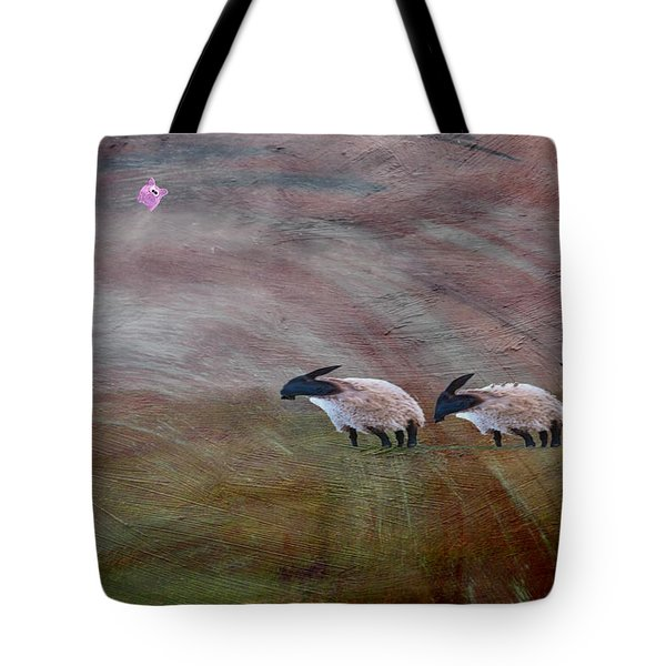 Three Sheep In The Wind And Pigs Fly Tote Bag