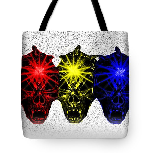 Tote Bag featuring the photograph Three Skulls by Blair Stuart