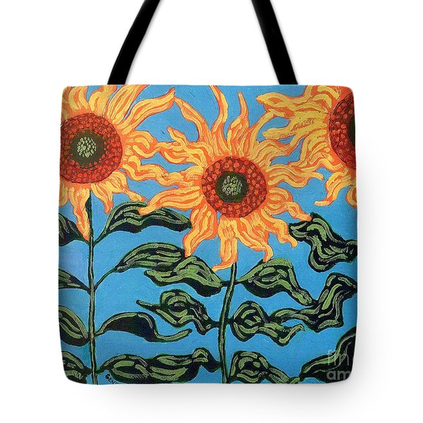 Three Sunflowers II Tote Bag by Genevieve Esson