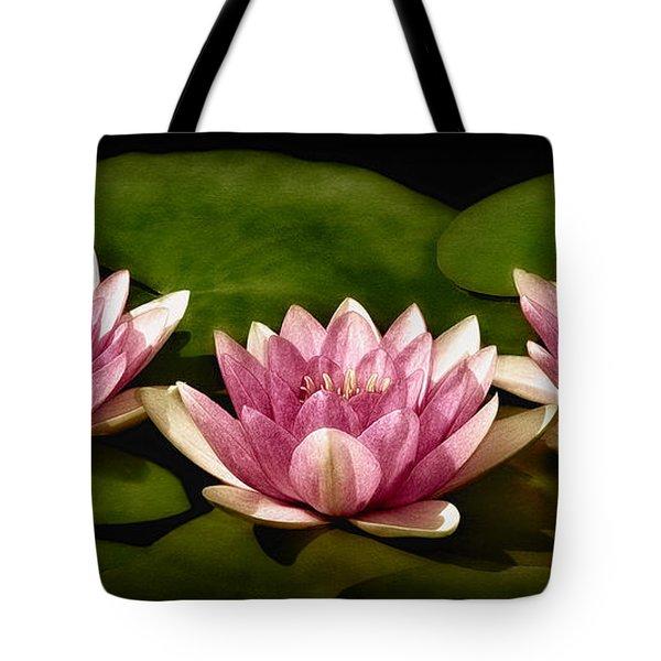 Three Water Lilies Tote Bag by Susan Candelario
