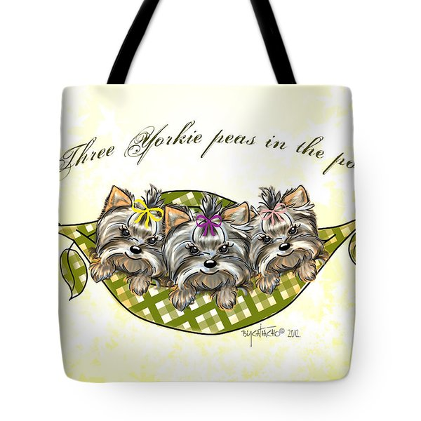 Three Yorkie Peas In The Pod Tote Bag