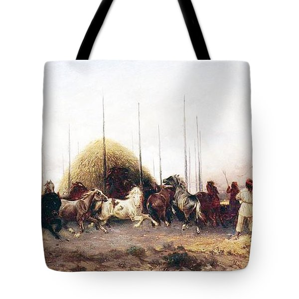 Threshing Wheat In New Mexico Tote Bag by Thomas Moran