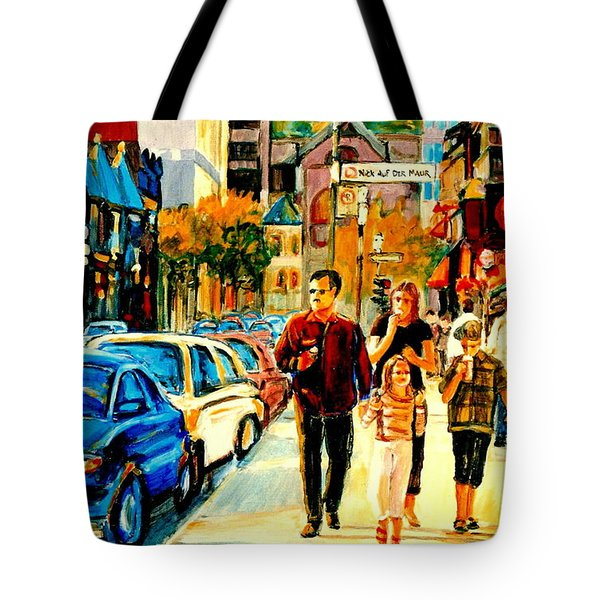 Thursdays Pub On Crescent Street Montreal City Scene Tote Bag by Carole Spandau