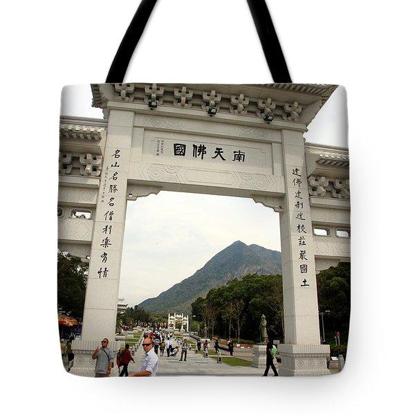 Tian Tan Buddha Entrance Arch Tote Bag by Valentino Visentini