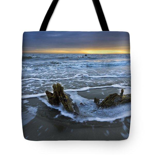 Tides At Driftwood Beach Tote Bag by Debra and Dave Vanderlaan