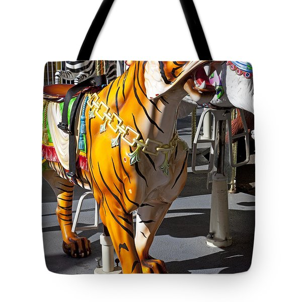 Tiger Carousel Ride Tote Bag by Garry Gay