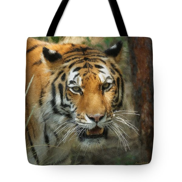 Tiger Painterly Square Format  Tote Bag by Ernie Echols