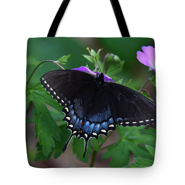 Tiger Swallowtail Female Dark Form On Wild Geranium Tote Bag