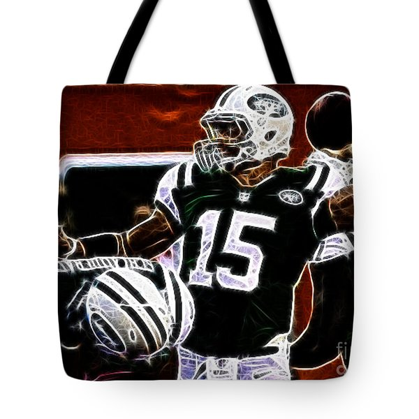Tim Tebow  -  Ny Jets Quarterback Tote Bag by Paul Ward