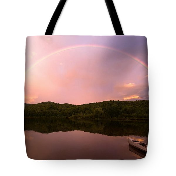 Timing Is Divine Rainbow Over Vermont Mountains Tote Bag by Stephanie McDowell