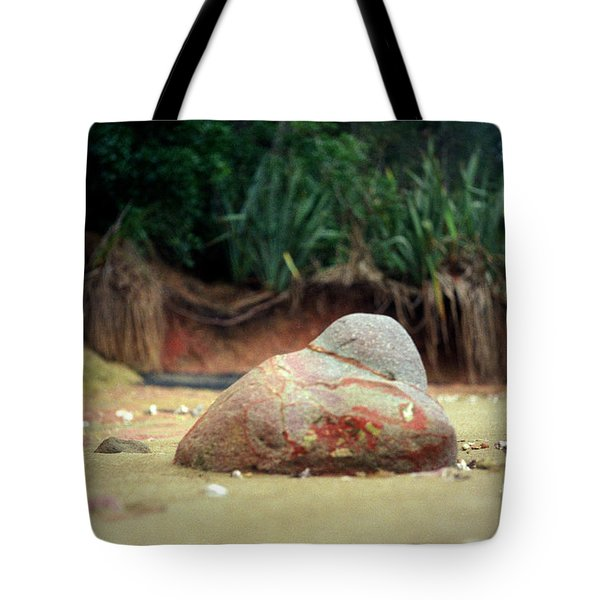 Tote Bag featuring the photograph Tinopai Beach Rock by Mark Dodd