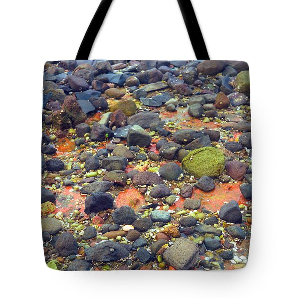 Tote Bag featuring the photograph Tinopoi Beach Rocks by Mark Dodd