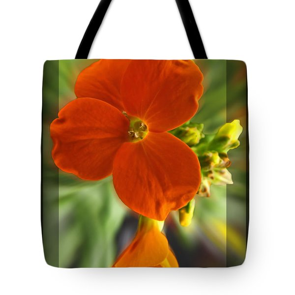 Tote Bag featuring the photograph Tiny Orange Flower by Debbie Portwood