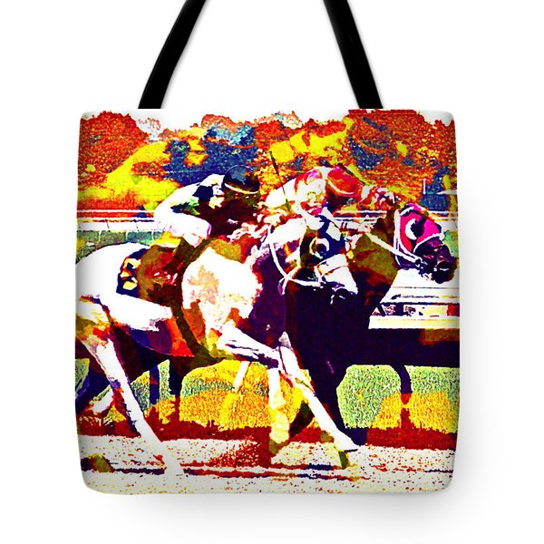 Tote Bag featuring the photograph To The Finish by Alice Gipson