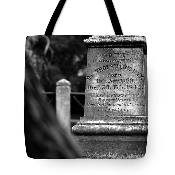 To The Memory Of Colonel Billingsley Tote Bag