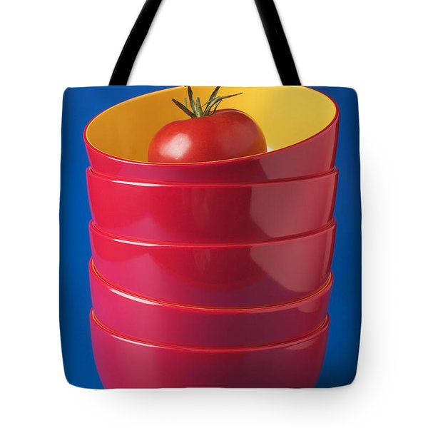 Tomato In Stacked Bowls Tote Bag by Garry Gay
