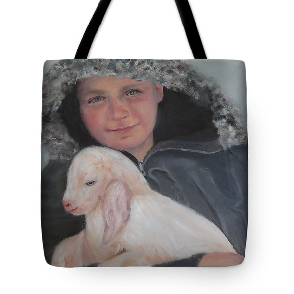 Tony With A Baby Goat Tote Bag by Carol Berning