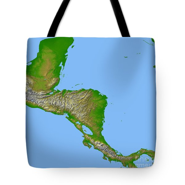 Topographic View Of Central America Tote Bag by Stocktrek Images