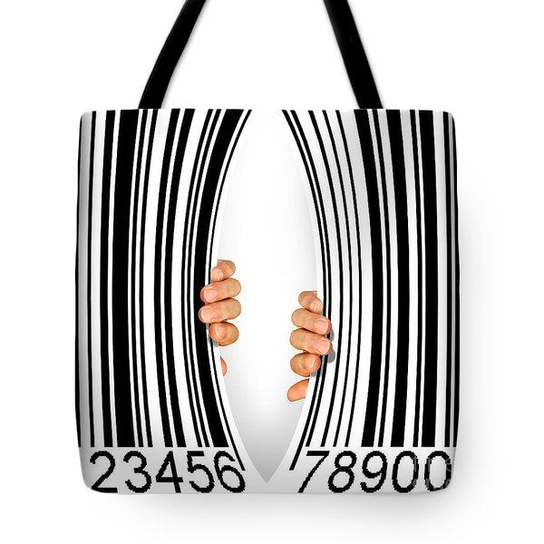 Torn Bar Code Tote Bag by Carlos Caetano