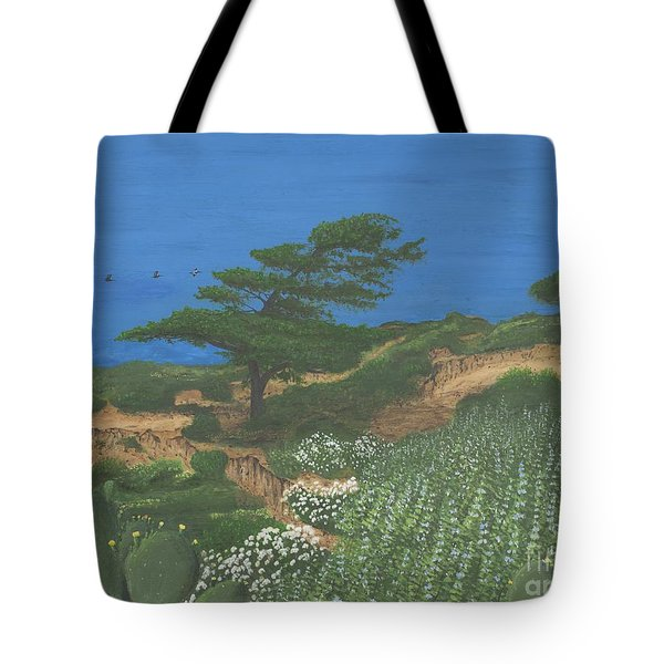 Torrey Pines And Pelicans Tote Bag
