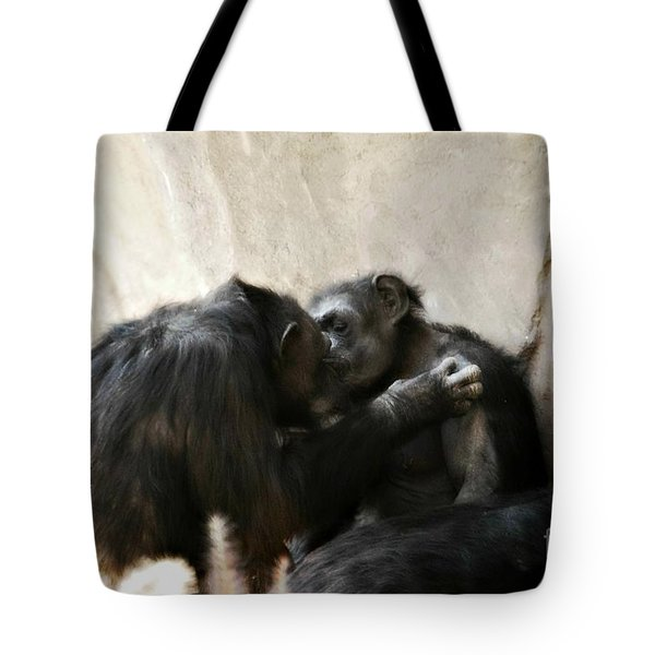 Touching Moment Gorillas Kissing Tote Bag by Peggy Franz