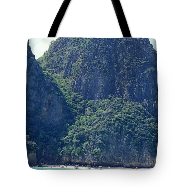 Tourist Speed Boats Anchored Tote Bag