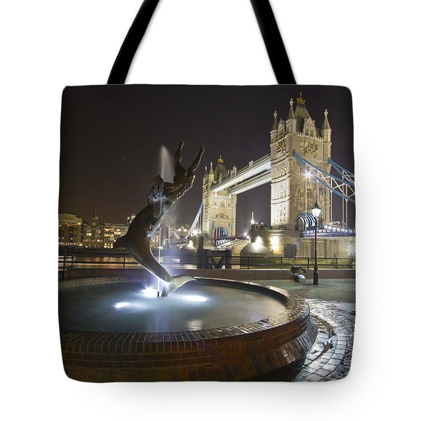 Tower Bridge Girl With A Dolphin Tote Bag by David French