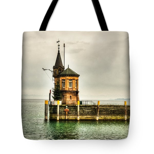 Tower On Lake Tote Bag by Syed Aqueel
