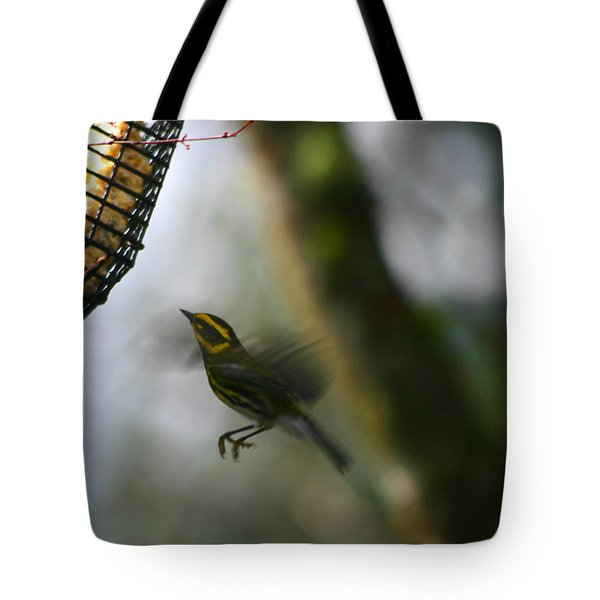 Townsend Warbler In Flight Tote Bag by Kym Backland