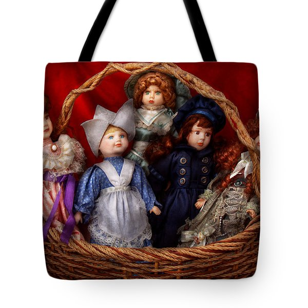 Toy - Dolls - A Basket Of Victorian Dolls  Tote Bag by Mike Savad