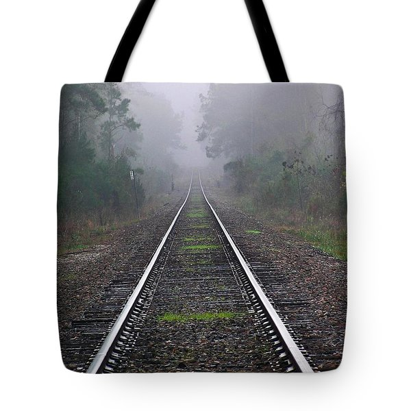 Tracks In Fog Tote Bag