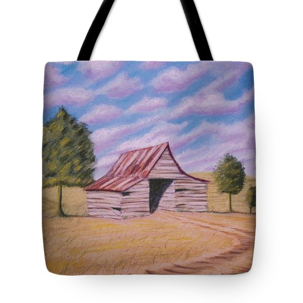 Tote Bag featuring the pastel Tractor Shed by Stacy C Bottoms
