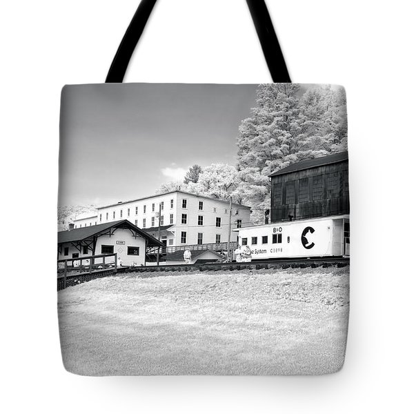 Tote Bag featuring the photograph Train Depot by Mary Almond