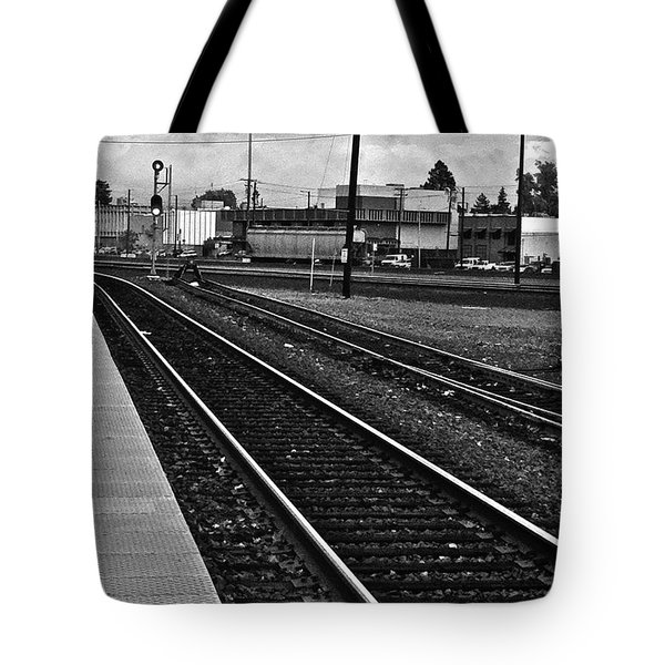 Tote Bag featuring the photograph train tracks - Black and White by Bill Owen