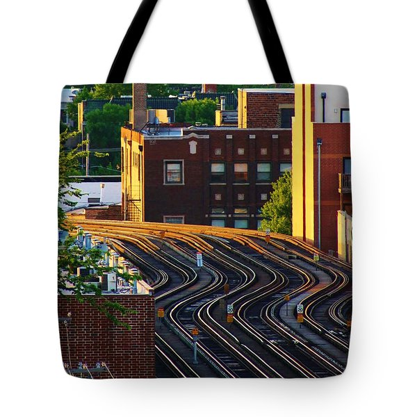 Train Tracks Tote Bag by Bruce Bley