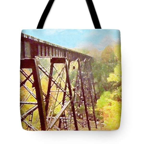 Tote Bag featuring the digital art Train Trestle by Phil Perkins