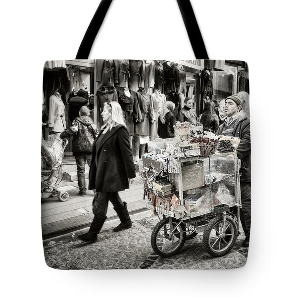 Traveling Vendor Tote Bag by Joan Carroll