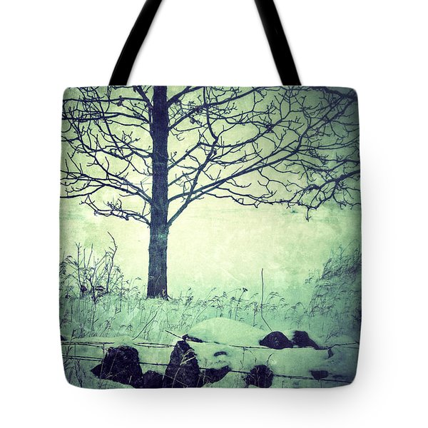 Tree And Fence In The Fog And Snow Tote Bag by Jill Battaglia
