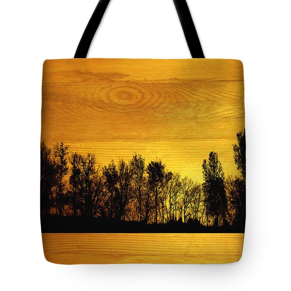 Tree Line On Wood Tote Bag by Ann Powell