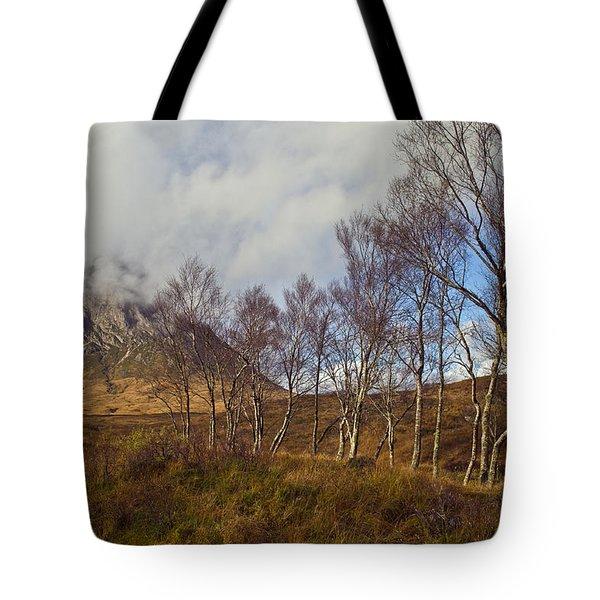 Trees Below Stob Dearg Tote Bag by Gary Eason